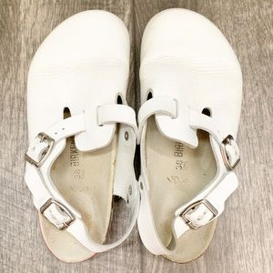 Birkenstock Leather Slip-On Clog White Back Strap